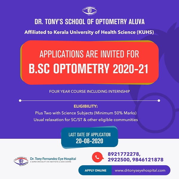 APPLICATION ARE INVITED FOR B.SC OPTOMETRY 2020-21